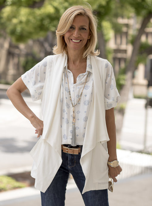 womens Ivory cargo vest with collar