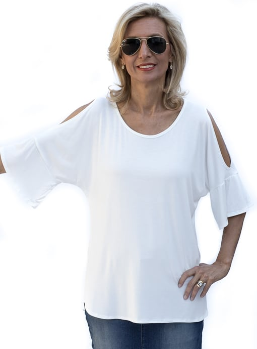 Ivory Cold Shoulder Ruffle Sleeve Jersey Top