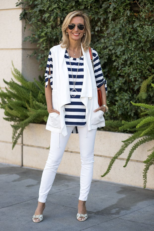 Navy and white stripe top with tie sleeves and ivory cargo vest