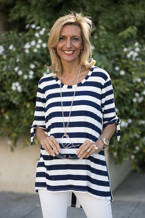 Navy and white stripe top with tie sleeves