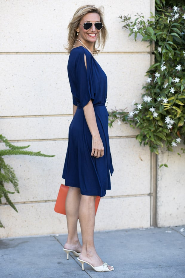 navy faux wrap jersey knit dress