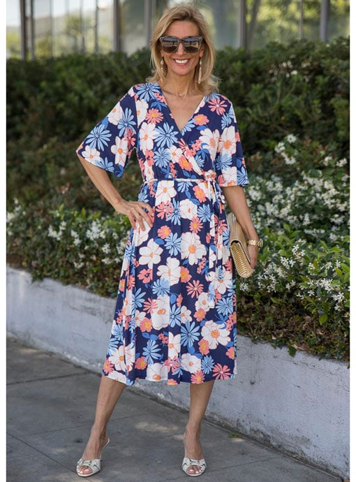 navy blue coral jersey floral print faux wrap dress
