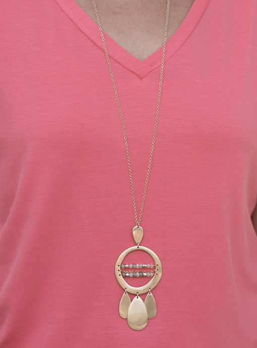 Matt Gold Chain Necklace With Round Pendant And Beads