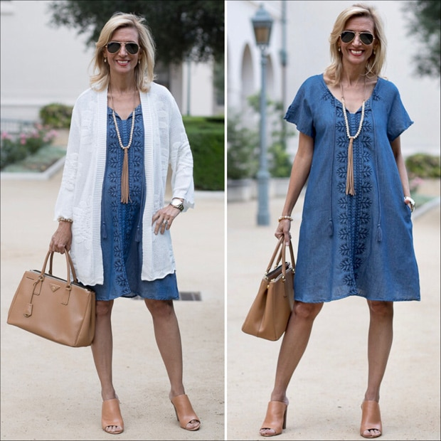 embroidered denim shirt dress styled with ivory cardigan with floral pattern