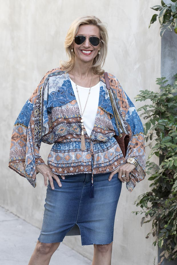 New Ethnic Print Kimono Style Jacket Styled with our new Ivory Cold shoulder jersey top
