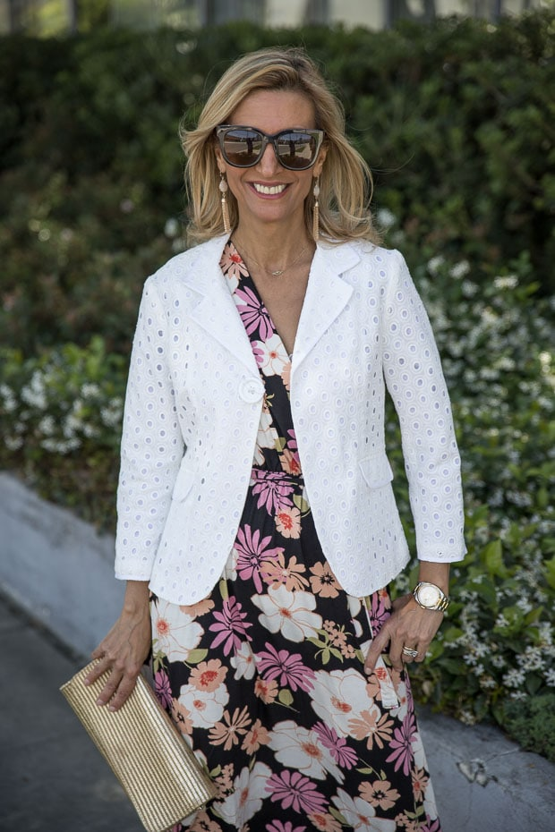 Two Floral Print Dress Styled With Our White Eyelet Jacket