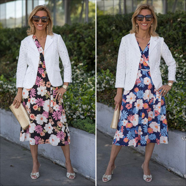 floral print dresses styled with white eyelet blazer for summer