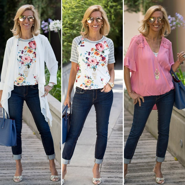 wearing white and pink with a floral touch for a summer outfit