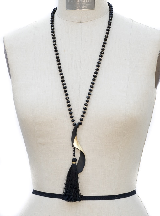 Black And Gold Bead Pendant And Tassel Necklace
