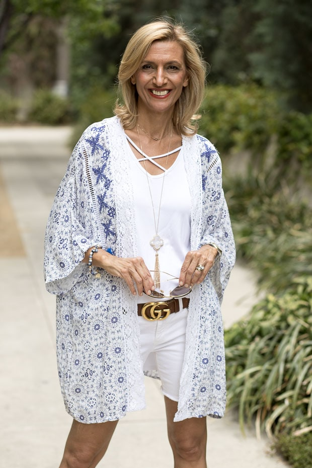 blue and white kimono with lace and embroidery trim