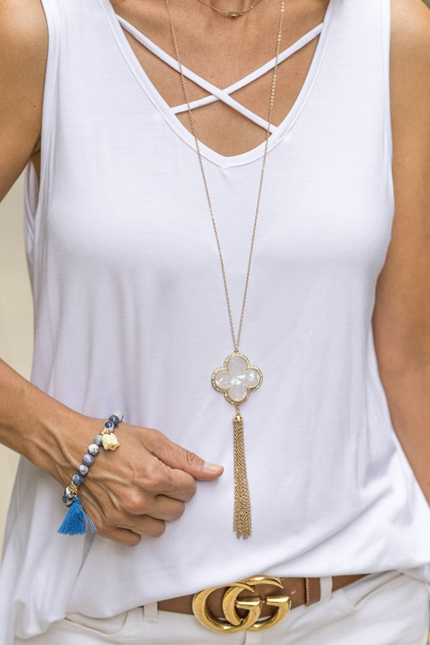 white criss cross long a line tunic with necklace