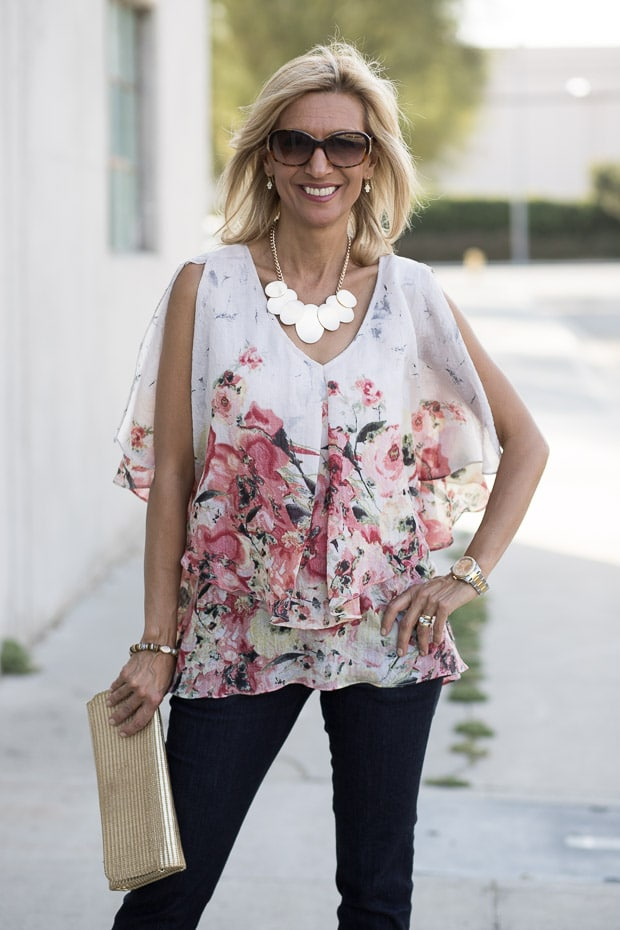 double Layer Floral Print Blouse with statement necklace