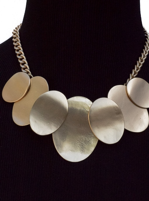 Matte Gold Metal Bib Statement Necklace