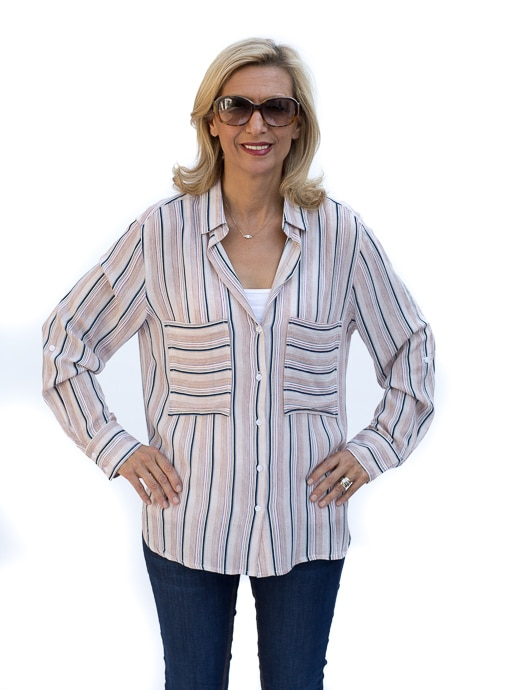 Two Pocket Stripe Long Sleeve Shirt