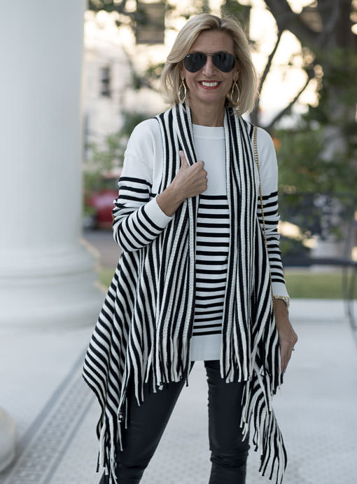 Black Ivory Stripe Knit Vest With Fringe