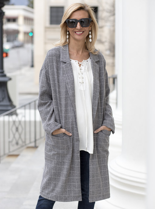 Gray Plaid Oversized Duster Coat