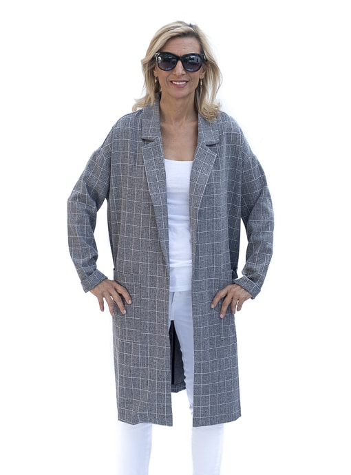 gray plaid Oversize duster coat