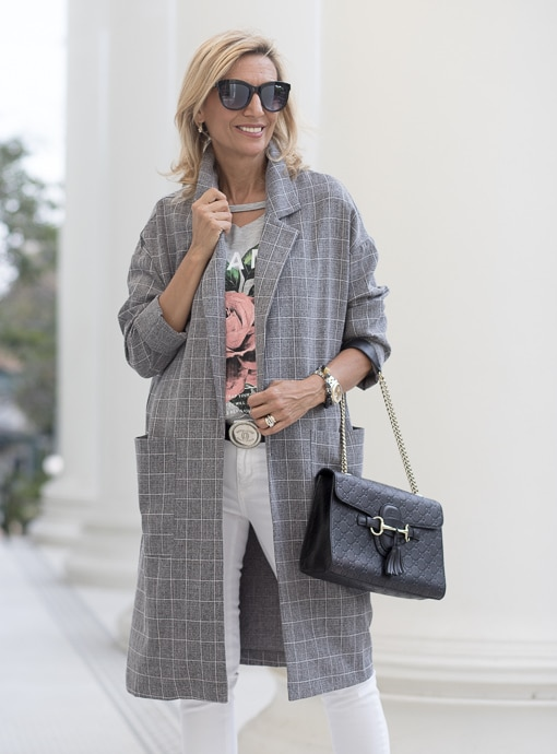 gray plaid duster coat