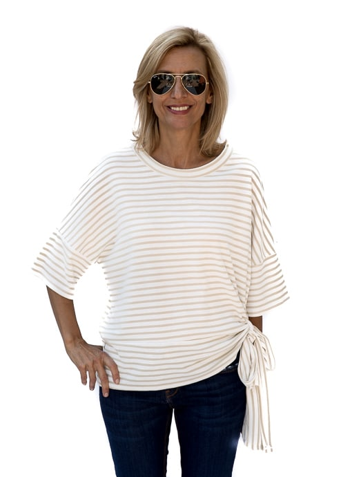 Tan Ivory Stripe Top With Side Tie