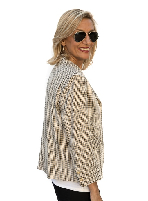 a classic womens jacket in black and tan houndstooth - fully lined and constructed with european fabrics and made in Los Angeles