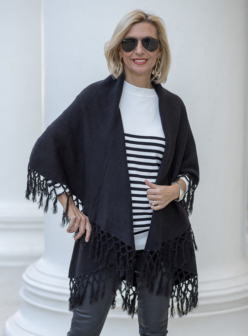 Black Cape Vest With Fringe