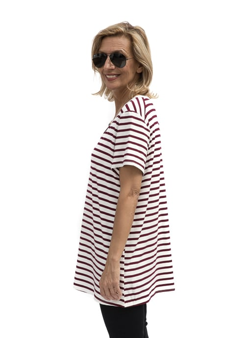 Burgundy Ivory Stripe V Neck T shirt