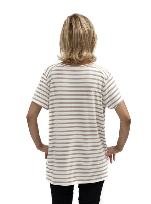 Tan And Ivory Stripe V neck T Shirt For Women
