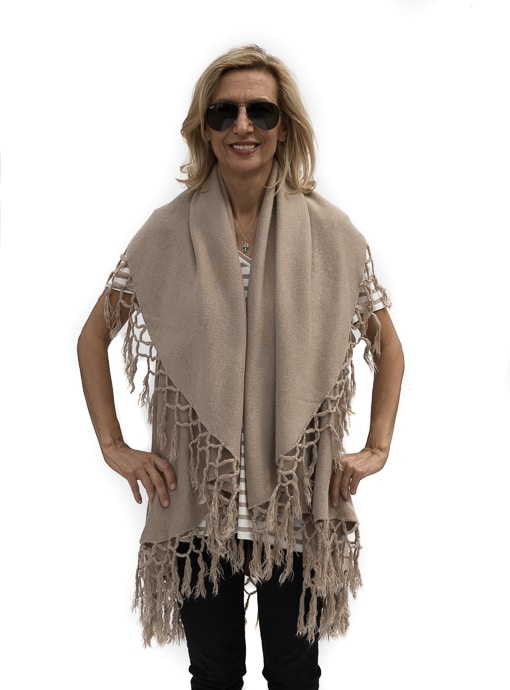 womens tan cape vest with fringe