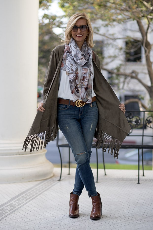 You will love our new olive faux suede jacket with fringe looks great