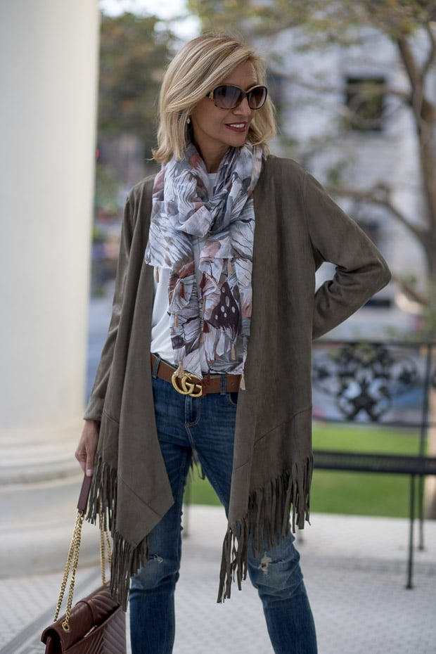 You will love our new olive faux suede jacket with fringe and Earthtone print scarf