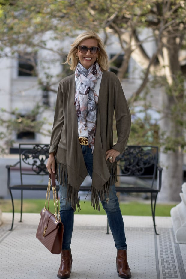 You will love our new olive faux suede jacket with fringe with abstract print scarf