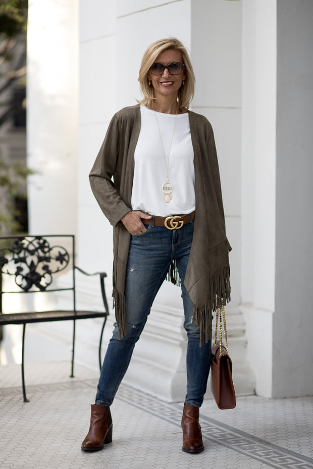 You will love our new olive faux suede jacket with fringe