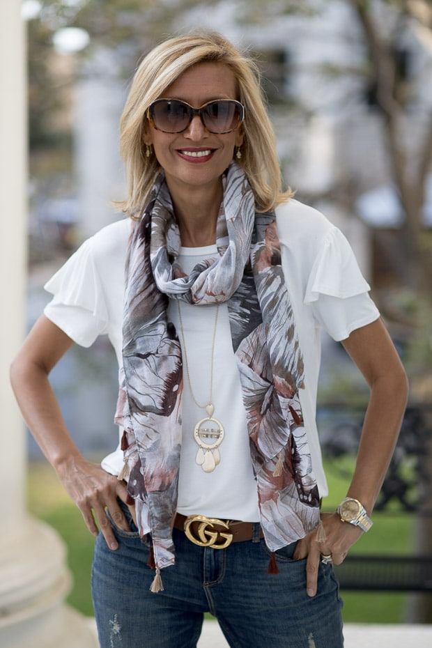 Ivory ruffle sleeve jersey top with abstract print scarf for women