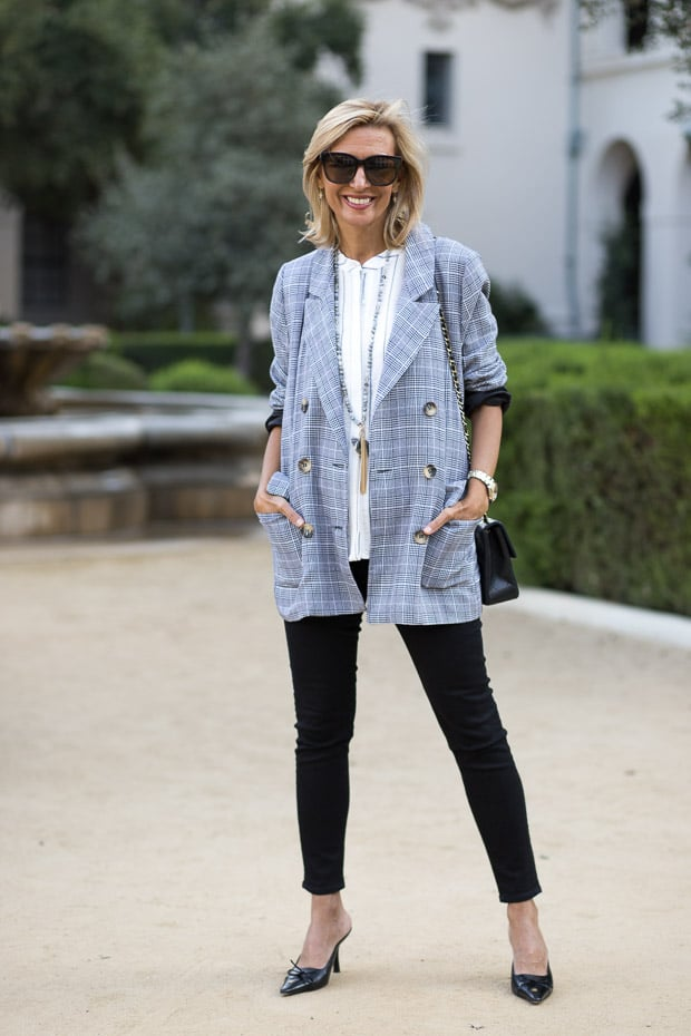 fall trend for women double breasted gray plaid blazer
