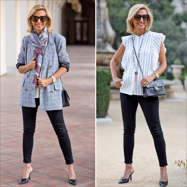 style feature womens gray plaid double breasted blazer and white stripe sleeveless ruffle shirt