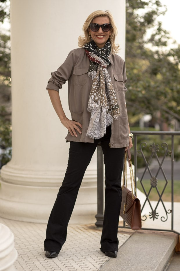 Styling Neutral Colors For Fall with a olive four pocket cargo jacket and scarf