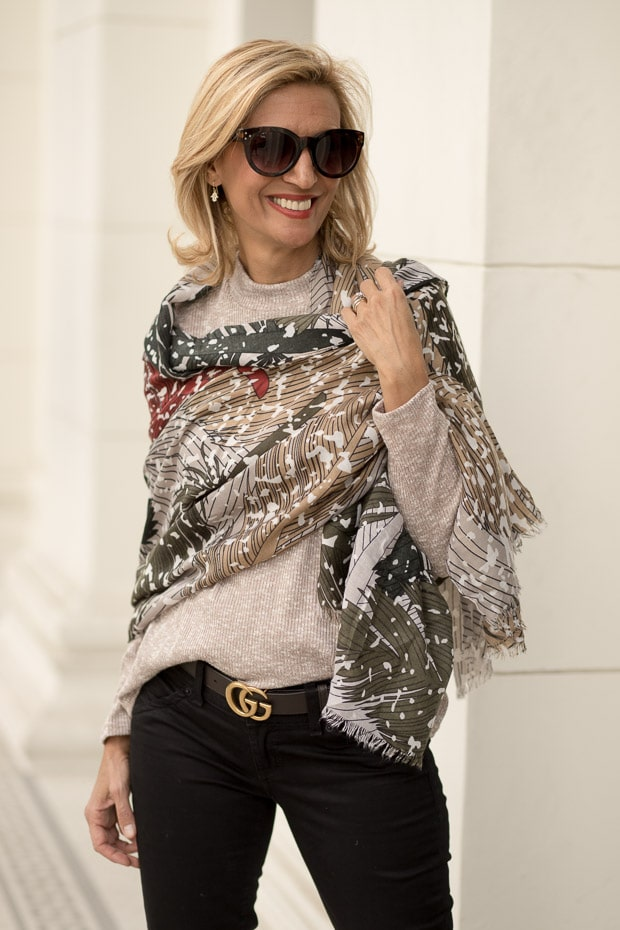 Styling Neutral Colors For Fall with a beautiful abstract print leaf shawl