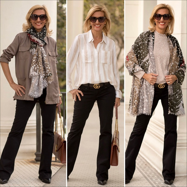 falling in love with neutrals olive cargo jacket styled with tan and white stripe two pocket shirt and abstract leaf print shawl scarf