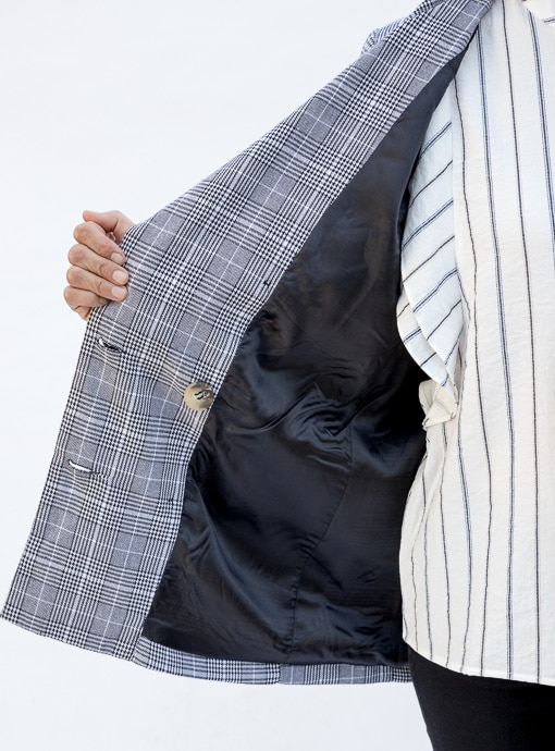 womens gray plaid double breasted jacket lining
