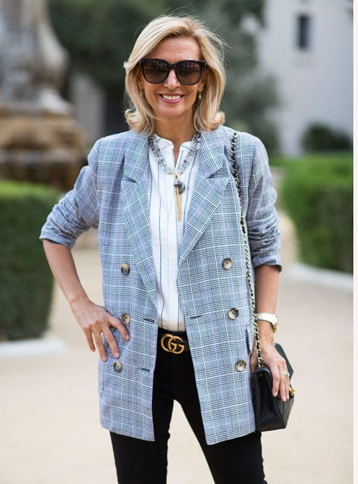 gray plaid double breasted blazer for women