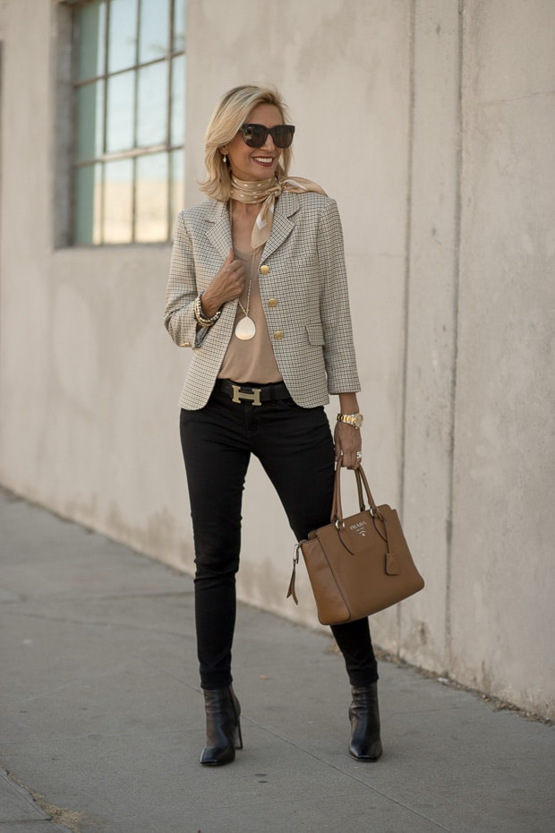 Camel V kneck long sleeve top styled with a classic womens houndstooth blazer
