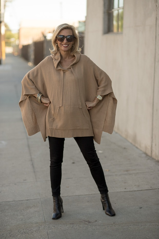Womens Camel Knit Hooded Poncho