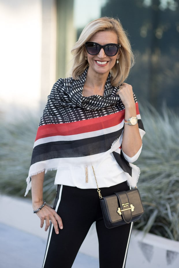 How to add a touch of red when mixing patterns for a fall outfit