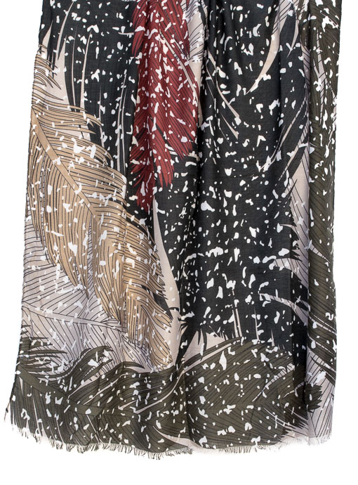 Womens colorful fall abstract leaf print scarf shawl