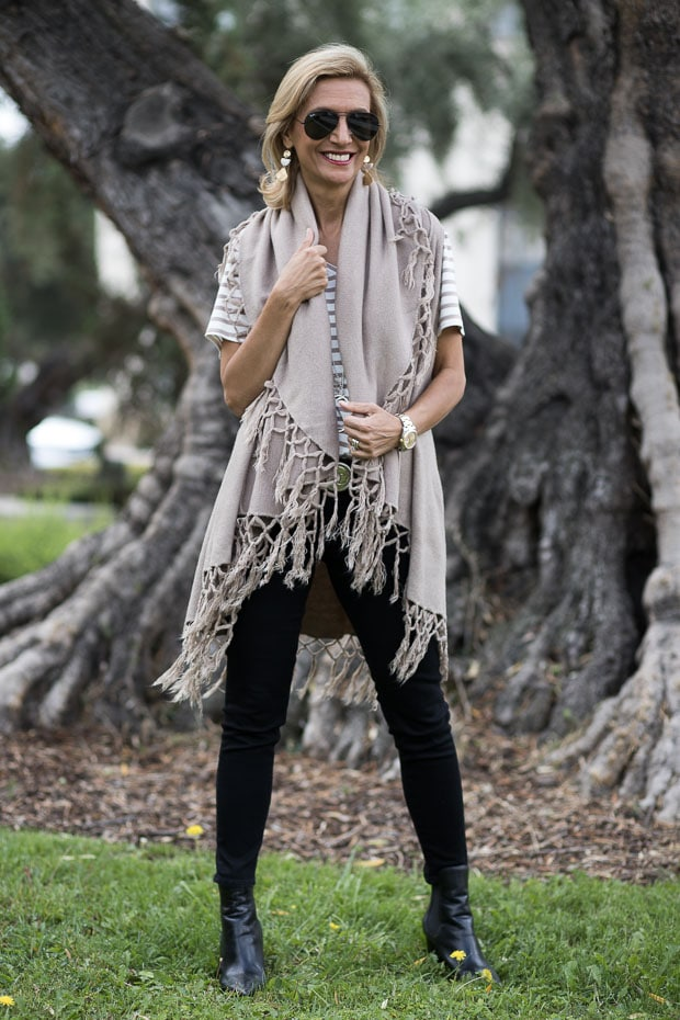 Womens Tan Coco Cape Vest With Fringe Styled With A V Neck Stripe T Shirt