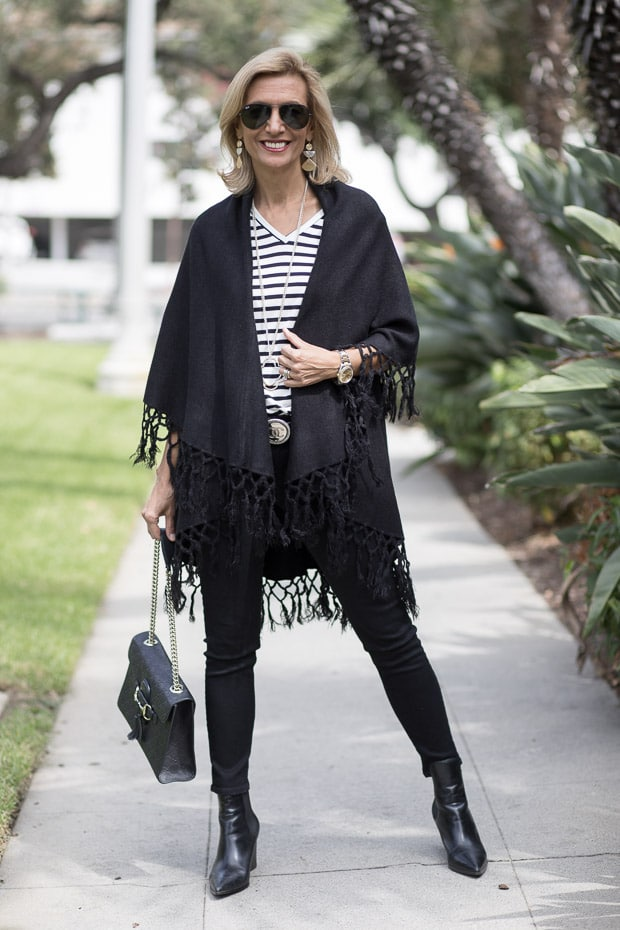 Womens Black Cape Vest With Fringe Styled With A V Neck Stripe T Shirt