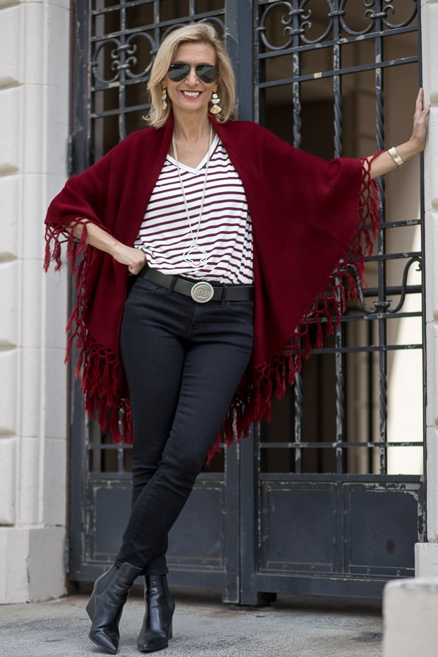 Womens Burgundy Cape Vest With Fringe Styled With A V Neck Stripe T Shirt