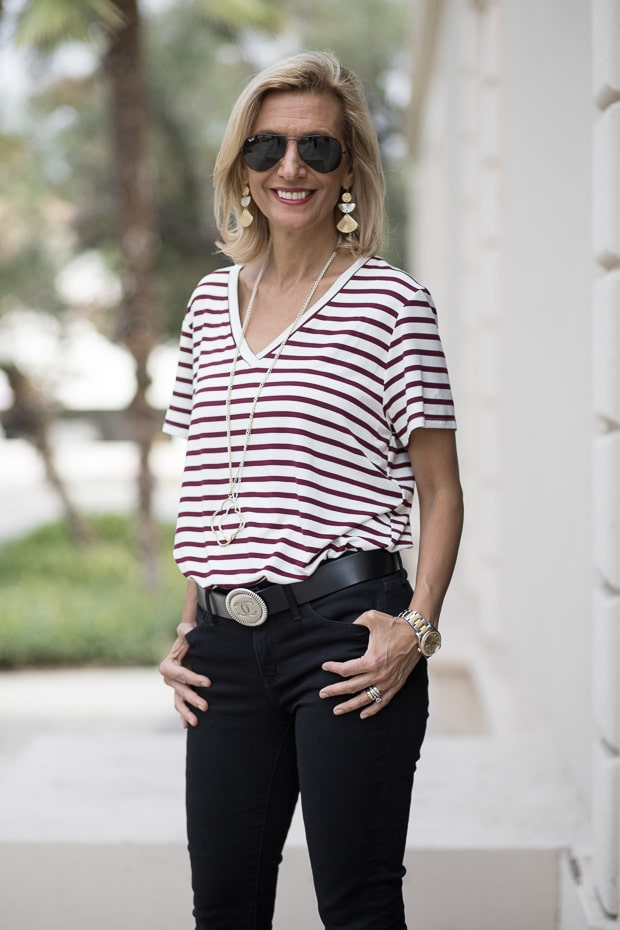 Womens Burgandy V Neck Stripe T Shirt