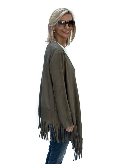 western inspried Womens Olive Faux Suede Jacket With Fringe