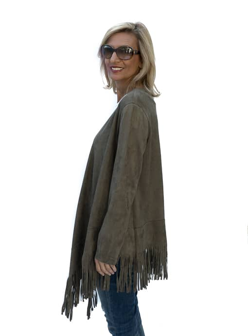 western inspired Womens Olive Faux Suede Jacket With Fringe